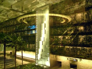 Changi airport Singapore - vertical garden and waterfall