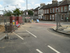 Road works building traffic calming Wandsworth London 2