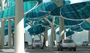 Solar car park with panels